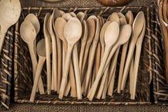 colher de sopa ou colher feita da madeira Fotos de Stock