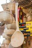 colher de sopa ou colher feita da madeira Fotos de Stock Royalty Free