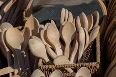 colher de sopa ou colher feita da madeira Foto de Stock Royalty Free
