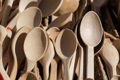 colher de sopa ou colher feita da madeira Foto de Stock
