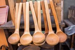 colher de sopa ou colher feita da madeira Fotografia de Stock Royalty Free