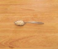 Colher do arroz branco fotografia de stock