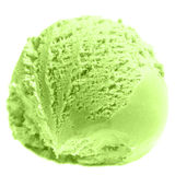 Colher do fim do gelado do pistache acima Macro da bola do gelado Fotografia de Stock Royalty Free