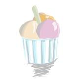 Colher do gelado no copo de papel Imagens de Stock