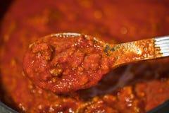 Colher do molho do espaguete Imagem de Stock