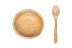 Colher e bacia de madeira Foto de Stock