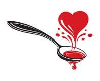 Colher e coração ilustração do vetor