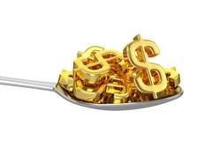 Colher e dólares dourados Imagens de Stock Royalty Free
