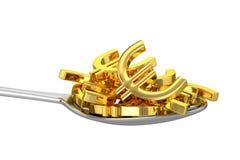 Colher e Euros dourados Fotos de Stock