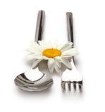 Colher e forquilha com flor Fotos de Stock