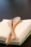 Colher e forquilha de bambu Imagem de Stock