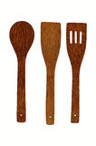 Colher e forquilha de madeira Imagem de Stock