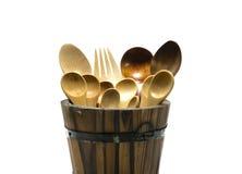 Colher e forquilha de madeira no tambor no fundo do isolado Imagem de Stock Royalty Free