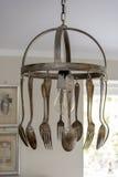 Colher e forquilha feitas como uma lâmpada decorativa Fotos de Stock Royalty Free