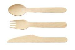 Colher, faca e forquilha de madeira Fotografia de Stock