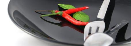 Colher, forquilha, pimentão vermelho Imagens de Stock Royalty Free
