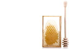 Colher para o mel e os favos de mel Imagens de Stock Royalty Free