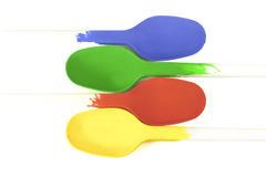 Colheres coloridas Fotografia de Stock