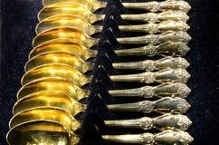 Colheres de chá folheados a ouro Imagem de Stock