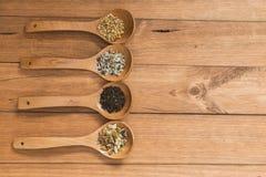 Colheres de madeira com as ervas diferentes para a infusão Fotografia de Stock