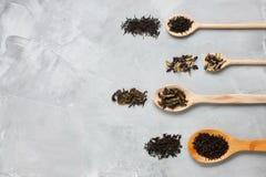 Colheres de madeira com as folhas de chá diferentes no backgro concreto cinzento Fotos de Stock