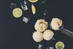 Colheres do gelado com gelo no fundo preto Fotos de Stock