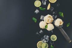 Colheres do gelado com gelo no fundo preto Imagens de Stock