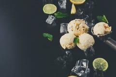 Colheres do gelado com gelo no fundo preto Fotografia de Stock Royalty Free