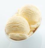 Colheres do gelado cremoso da baunilha Imagem de Stock Royalty Free