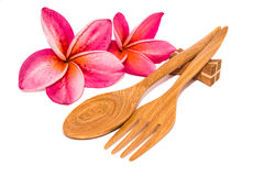 Colheres e forquilha de madeira Fotografia de Stock Royalty Free