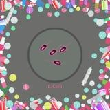 Coli bakterii ikona ilustracji