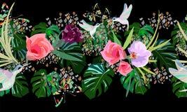Colibrì astratti di tiraggio dell'acquerello, farfalle, foglie verdi Fotografia Stock Libera da Diritti