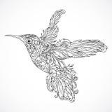 Colibrí con el ornamento floral Arte del tatuaje stock de ilustración
