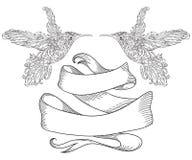 Colibrí con la cinta del ornamento floral y del vintage stock de ilustración