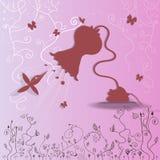 Colibrí tropical que vuela con la flor-lámpara Imágenes de archivo libres de regalías