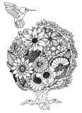 Colibri 花 自然 也corel凹道例证向量 乱画图画 冥想的锻炼 成人的彩图反重音 免版税图库摄影
