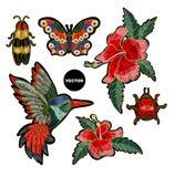 Colibri de broderie, fleurs de ketmie, papillon et coccinelle illustration libre de droits