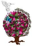 Colibri Flores nave Ilustração do vetor Exercício meditativo Anti esforço do livro para colorir para adultos Imagem de Stock Royalty Free