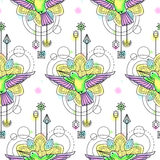 Colibri Watercolor Seamless Pattern Stock Photography