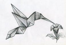 Colibrivogel en bloem van gevouwen document wordt gemaakt dat Royalty-vrije Stock Afbeeldingen