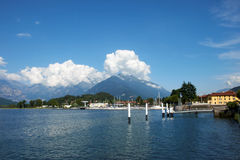 Colico , Como lake. View of the harbor of Colico on the Como Lake, Italy, in the background the Alps Stock Photos