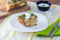 Coliflor cocida con los huevos, queso Imagen de archivo libre de regalías