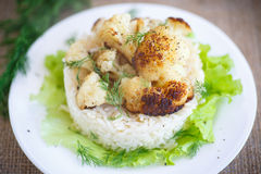 Coliflor frita con arroz hervido Fotografía de archivo libre de regalías
