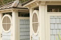 Coligny Beach Cabanas. Cabanas are provided at Coligny Beach on Hilton Head to make changing clothes easy.  This is the major tourist beach access on Hilton Head Stock Images