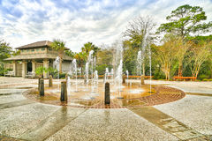 Coligny Beach Fountain. The entrance to Coligny Beach on Hilton Head Island features this new water fountain which is a mecca for children of all ages.  One has Royalty Free Stock Images