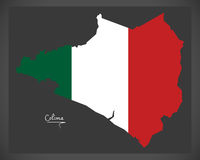 Colima map with Mexican national flag illustration Royalty Free Stock Image