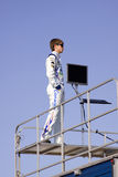 Colin Braun che si leva in piedi sul rimorchio della corsa Immagini Stock