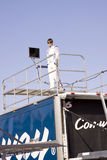 Colin Braun Standing on Race Trailer Royalty Free Stock Photography