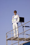 Colin Braun Standing on Race Trailer Stock Images