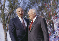Colin Powell e Dick Cheney fotografia de stock